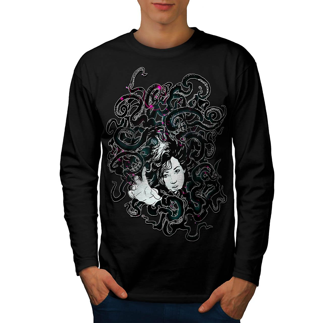 Reach Out For Help Stretch Girl Men Black Long Sleeve T-shirt | Wellcoda