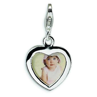 Sterling Silver Polished Heart Frame With Lobster Clasp Charm - 1.4 Grams - Measures 28x15mm