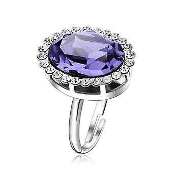 Platinum Plated Amethyst Resizable Ring