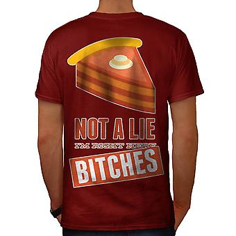 Right Here Pie Cool Funny Men Red T-shirt Back | Wellcoda