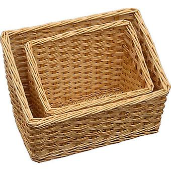 Set of 2 Sloped Wicker Display Trays