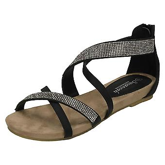 Ladies Savannah Low Wedge Diamante X Strap Sandals F10595