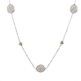 Necklace Long Oval Disc Silver