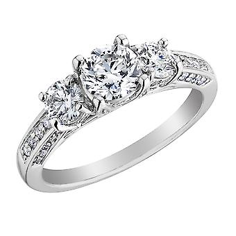 1.50 Carat (ctw Color H-I Clarity I1-I2) Diamond Engagement Ring 14K White Gold