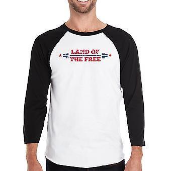 Land Of The Free Mens Black Baseball Tee Shirt 3/4 Sleeve Jersey