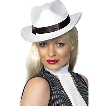 Gangster Hat white mafia Hat 20's Gansterhut velour