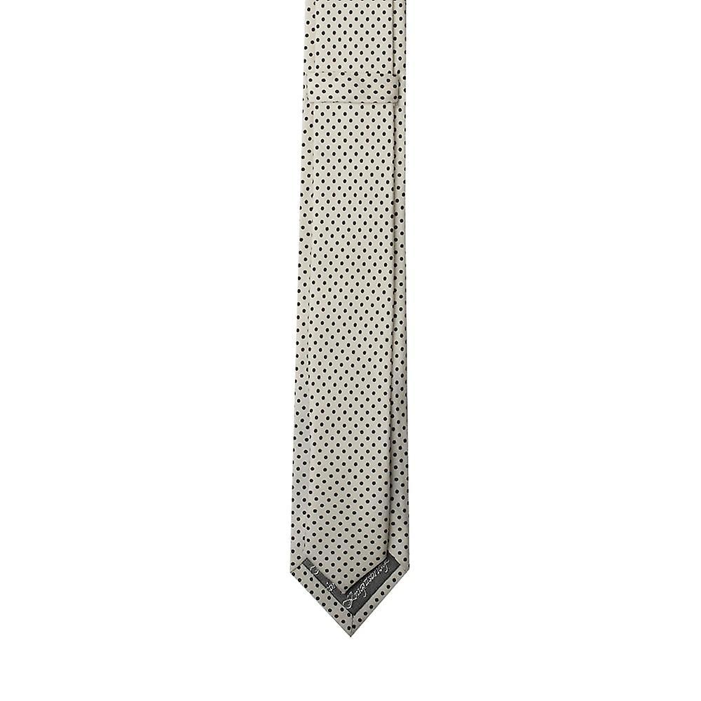 Knightsbridge White Pin Dot Skinny Silk Tie