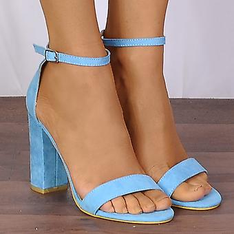 Shoe Closet Ladies Db57 Turquoise Blue Barely There Peep Toes Strappy Sandals High Heels