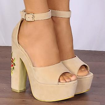 Shoe Closet Nude Platform Wedges - Ladies FG7 Nude Platforms Embroidered Strappy Sandals High Heels