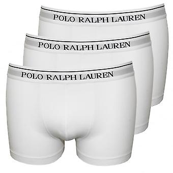 Polo Ralph Lauren 3-Pack Classic Boxer Trunks, White With Navy