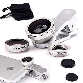 ONX3  (Silver) Mobile Phone Universal Camera Lens 3 in 1 Kit Wide Angle Lens + Fisheye Lens + Macro Lens with Clip-on 180 Degree For  Asus Zenfone 4