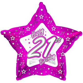 Creative Party Happy 21st Birthday Pink Star Balloon