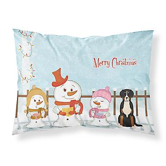 Feliz Navidad cantantes mayor suizo de la montaña perro tela estándar funda de almohada