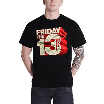 Friday The 13th T Shirt Block Vintage Movie Logo Official Mens New Black
