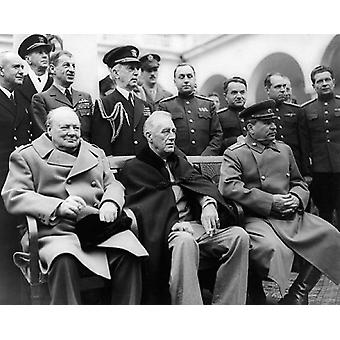 President Franklin D Roosevelt Winston Churchill and Joseph Stalin Yalta Conference 1945 Poster Print by McMahan Photo Archive (10 x 8)