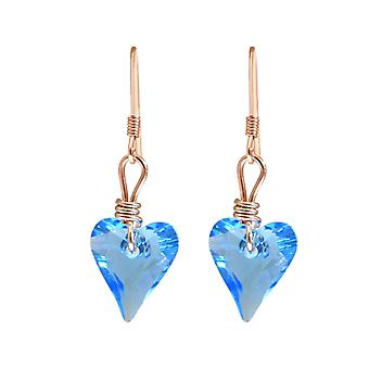 Gemshine - ladies - earrings - rose gold plated - heart - blue - MADE WITH SWAROVSKI ELEMENTS® - 2 cm