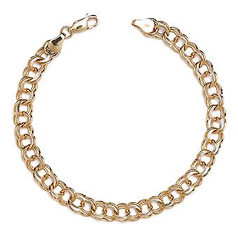 10k Yellow Gold High Polished Solid Double Link Charm Bracelet (0.26