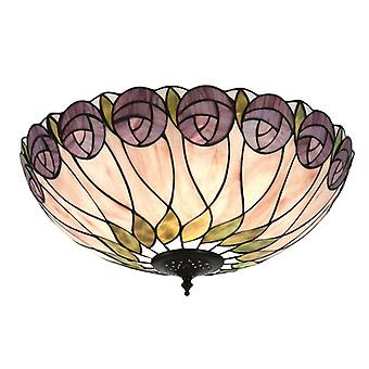 Hutchinson Large Tiffany Style Two Light Flush Ceiling Fixture - Interiors 1900 64173