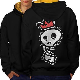 Skull Of The King Men Black (Gold Hood)Contrast Hoodie Back | Wellcoda