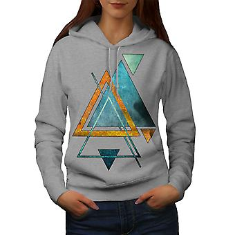 Abstract Triangle Women GreyHoodie | Wellcoda