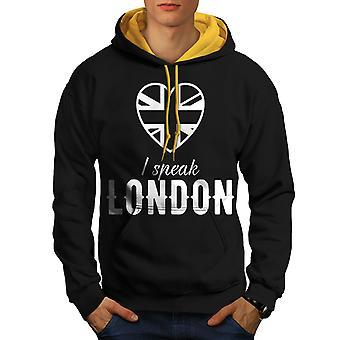 Briten sprechen UK London Männer schwarz (Gold Hood) Kontrast Hoodie   Wellcoda