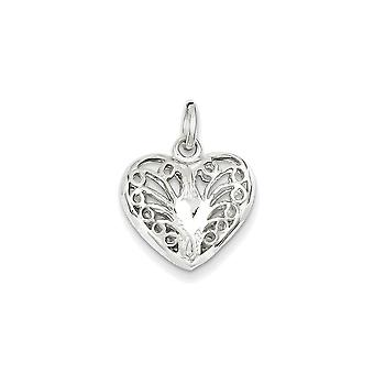 925 Sterling Silver Filigree Heart Charm Pendant - 14mm