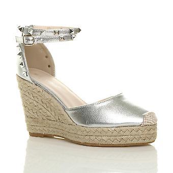 Ajvani womens hoge wig hiel bezaaid enkel riem espadrilles schoenen sandalen