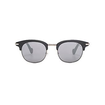 Moncler Geometric Brow Line Sunglasses In Matte Black