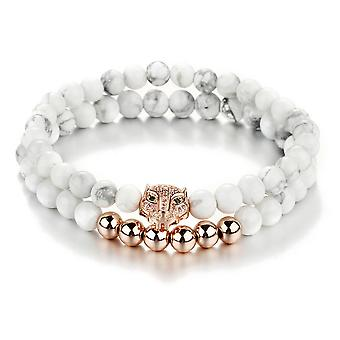 Double Bracelet man - Woman Stretch in natural white stones and head of Panther rose gold