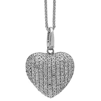 Burgmeister  women's necklace and pendant 925 sterling silver rhodanized, plait chain 45cm heart pendant zirconia white JBM1042-421