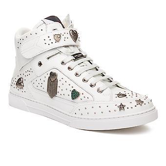 Saint Laurent Men's Leather Embellished Hi-Top Sneaker Shoes White