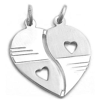 925 Silver diamond heart pendant with 2 eyelets of separable friendship pendant