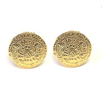 Sterling Silver 18 Karat Gold Overlay Greek Phaistos Stud Earrings