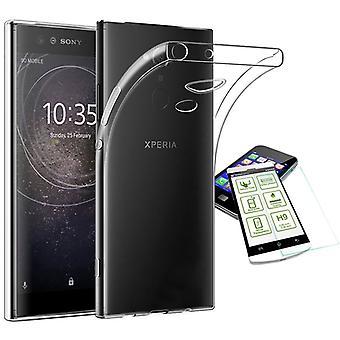 Silikoncase ultra dünn Hülle Tasche Transparent + Hartglas 0,3 mm H9 für Sony Xperia XA2 Ultra