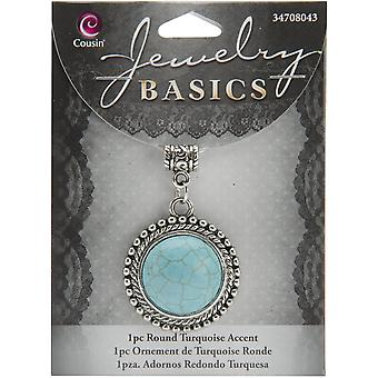 Jewelry Basics Metal Accent 1/Pkg-Turquoise Round