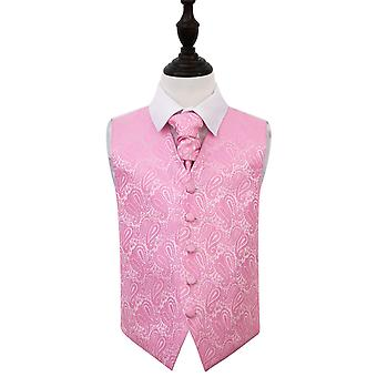 Baby Pink Paisley Wedding Waistcoat & Cravat Set for Boys