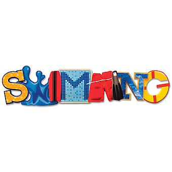 Stacked Statement Stickers-Swimming