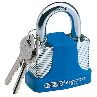 Draper 64179 30mm Laminated Steel Padlock & 2 Keys with Hardened Steel Shackle