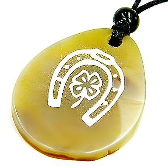 Lucky Horse Shoe Clover Wish Stone Natural Agate Necklace