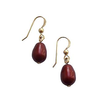 Gemshine - ladies - earrings - Pearl - Burgundy - dripping - gold plated - 11 mm