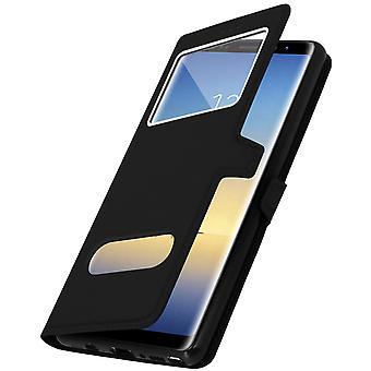 Doppia finestra in piedi flip Custodia per Galaxy Note 8 con guscio in TPU - nero