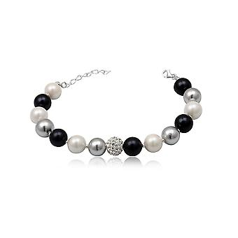 Bracelet beads black white and silver, Crystal white and Silver 925