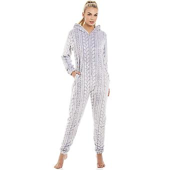 Camille Grey Supersoft Fleece Cable Print Hooded Zip Up Onesie