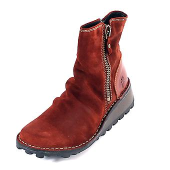 Fly London Women's Mon Oil Suede / Leather Zip Ankle Boot Brick