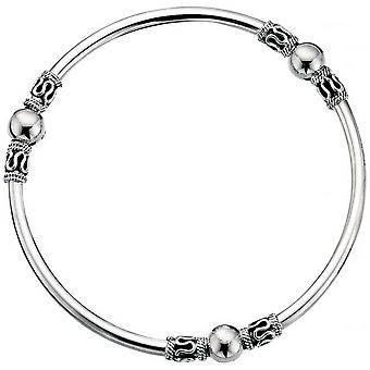 Beginnings Closed Indo Bangle - Silver/Black