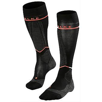Falke SK Energizing Wool Knee High Socks - Black/Neon Red