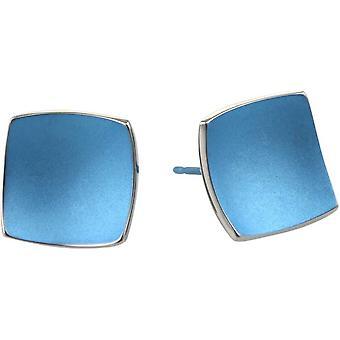 Ti2 Titanium Square koepels Stud Oorbellen - Aqua Blue