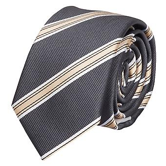 Schlips Krawatte Krawatten Binder 6cm grau gold weiß gestreift Fabio Farini