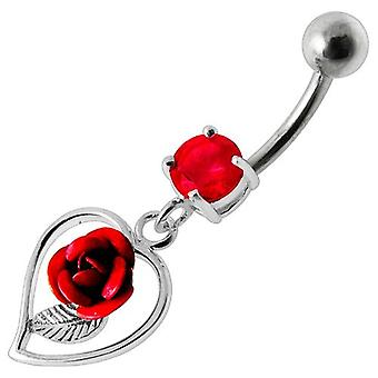 Brzuch Bar pępka Piercing 925 srebro, biżuteria ciała, serca i Rose Red