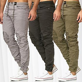 Men's Jogger Pants Chino Biker Outdoor Destroyed Stretch Waistband Trousers